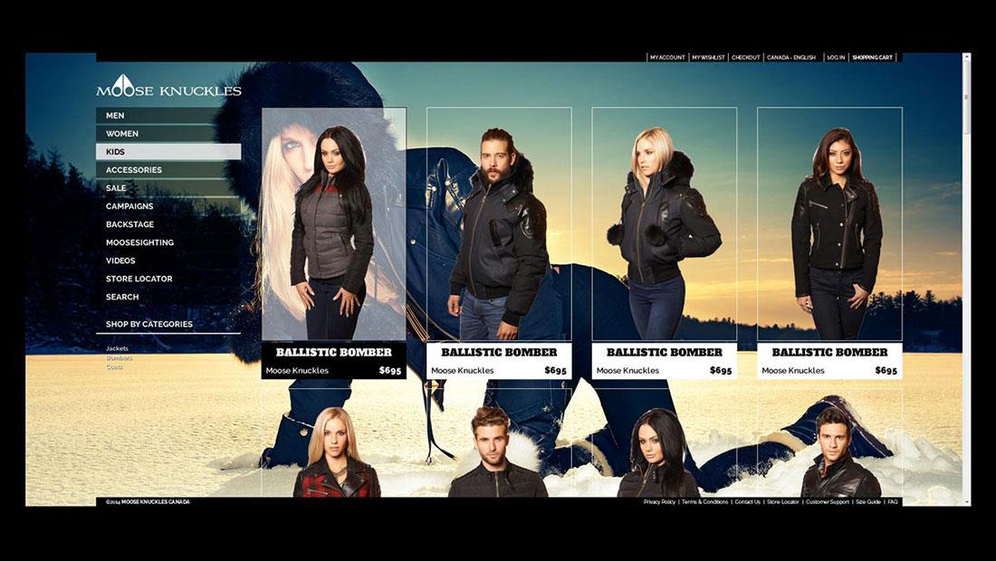 Catálogo e productos del sitio web de MooseKnuckles