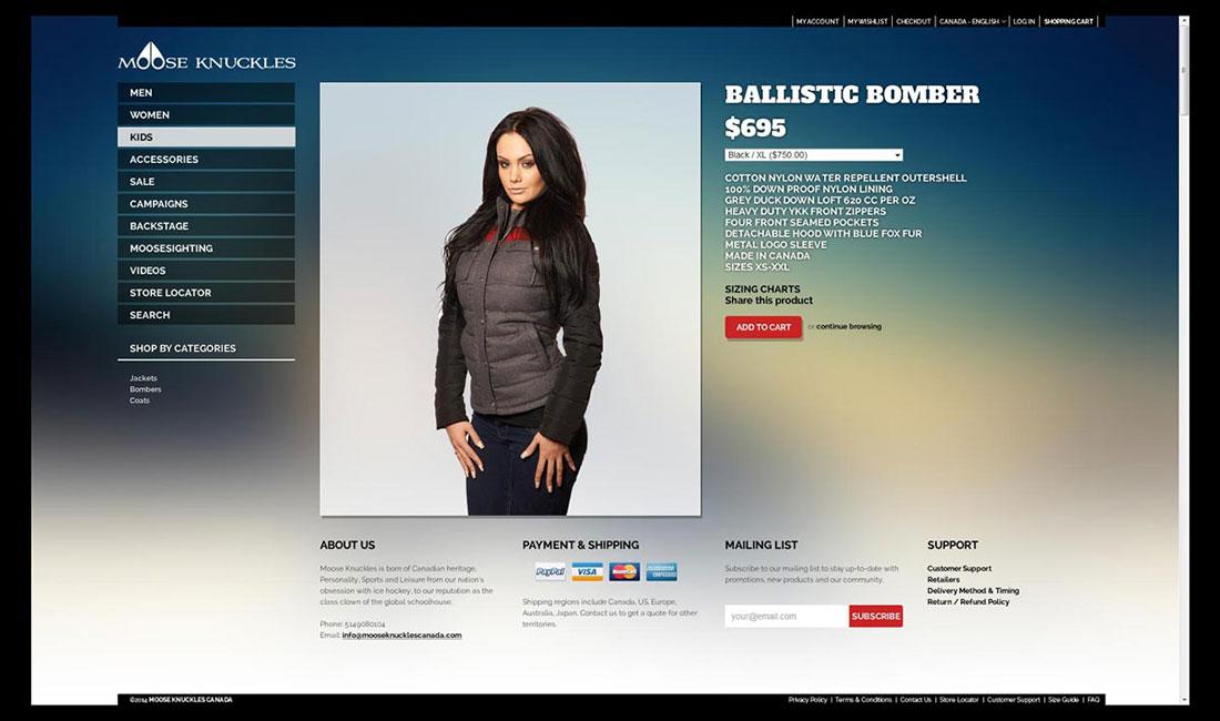 Detalle de producto del sitio web de MooseKnuckles