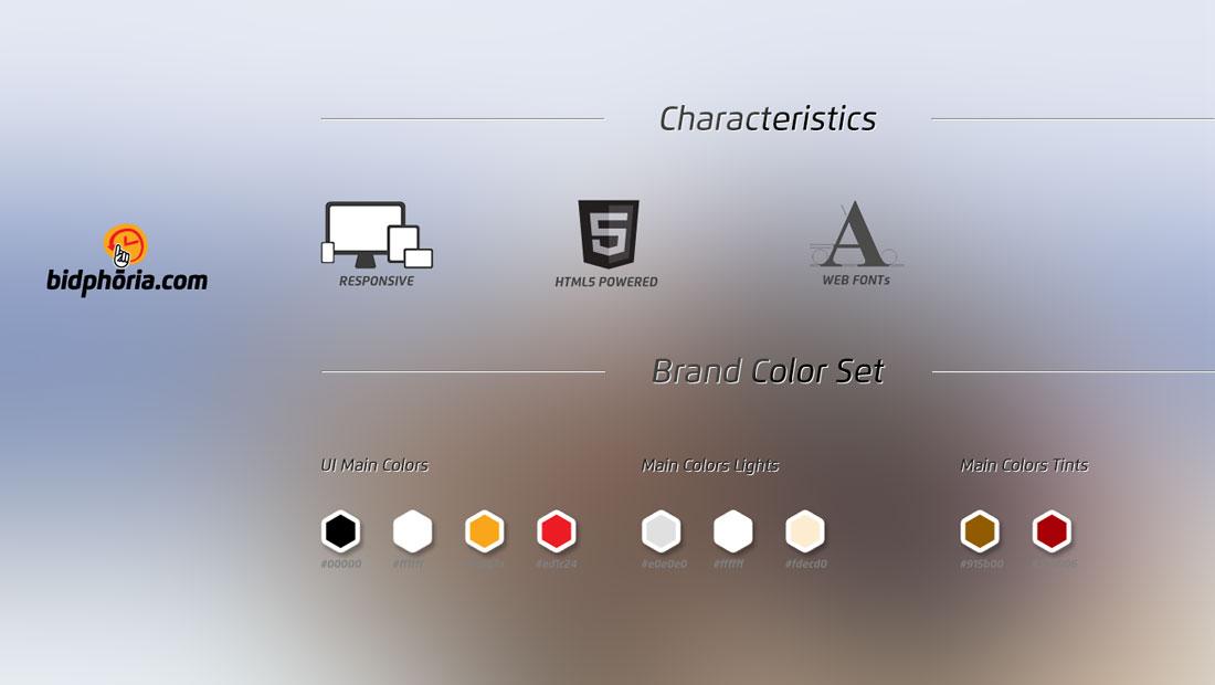 bidphoria características html y colores